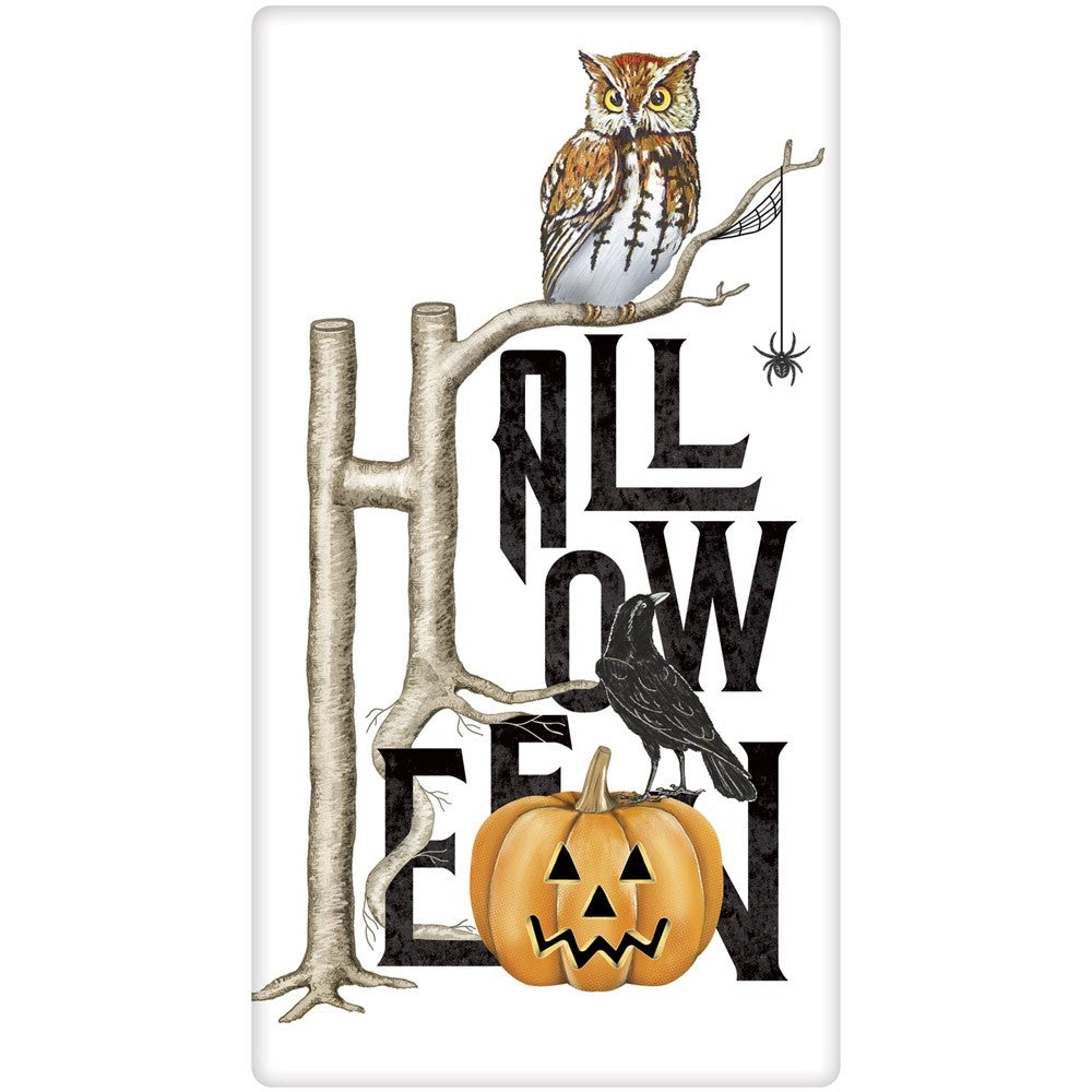 Halloween Owl Towel by Mary Lake-Thompson