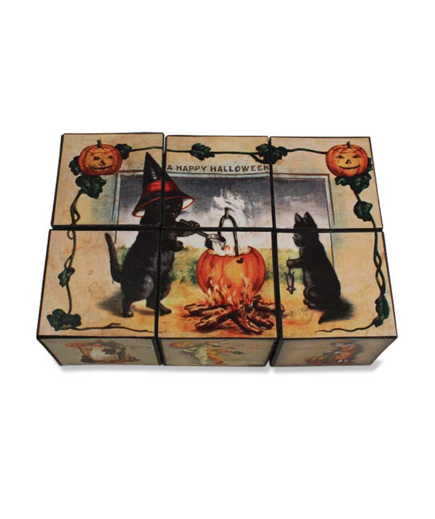 Halloween Puzzle Blocks Game with Vintage Halloween Images by Bethany Lowe