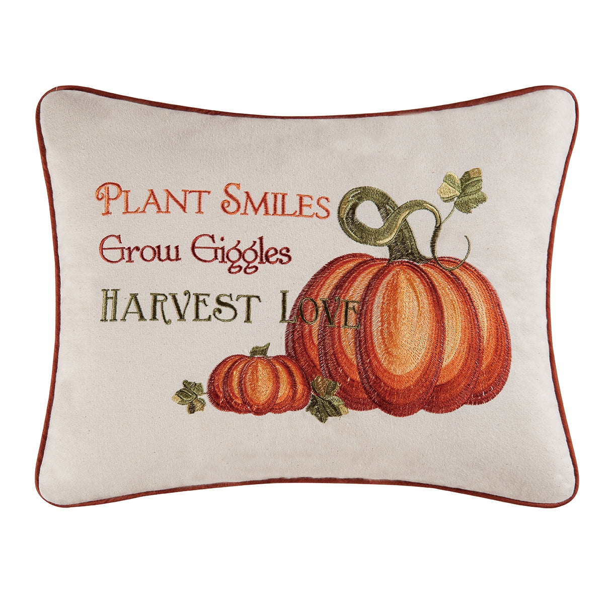 Harvest Love Pumpkin Patch Pillow - Plant Smiles - Grow Giggles - Harvest Love