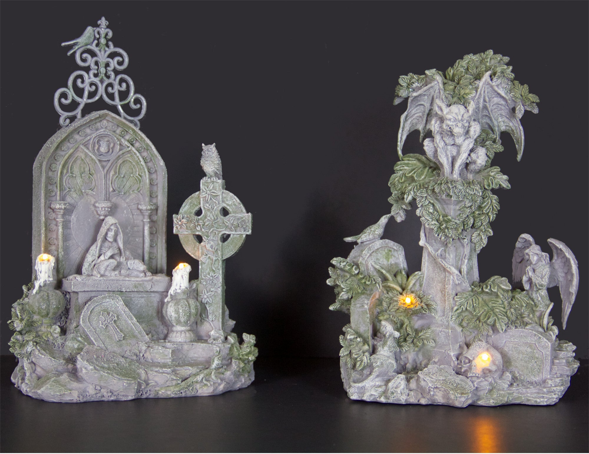 Haunted Cemetery Figurines with Gargoyle Figurines - Graveyard