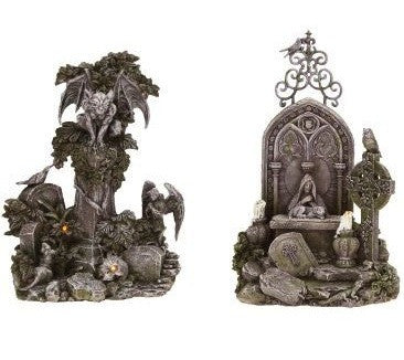 Haunted Cemetery with Gargoyles - Halloween Figurines