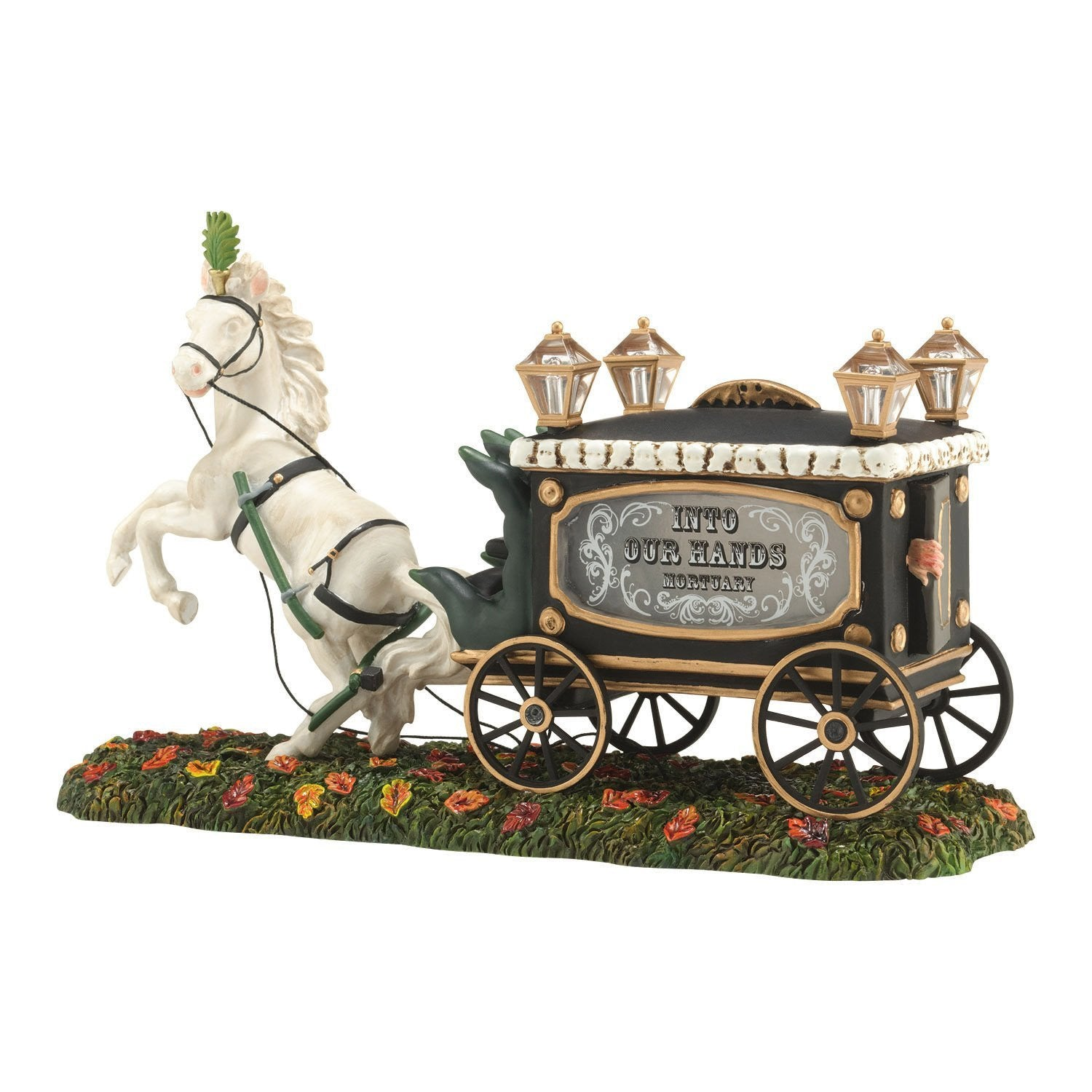 Haunted Horse Drawn Hearse Tabletop Halloween Figure