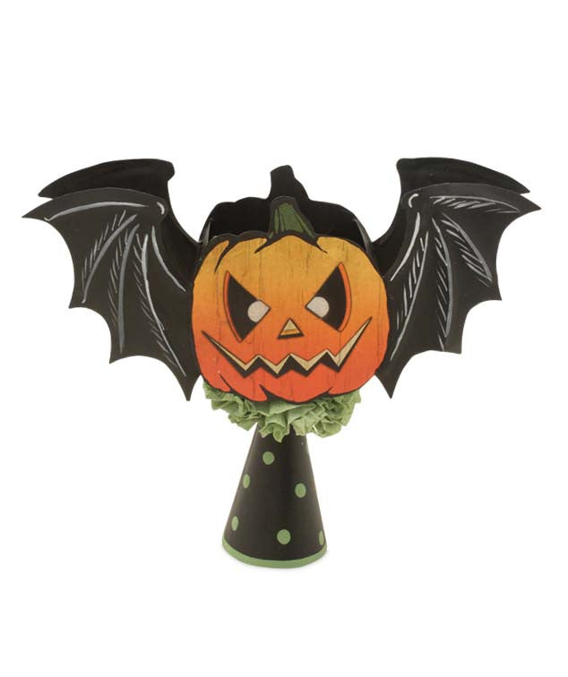 Haunted Pumpkin Bat Halloween Tree Topper