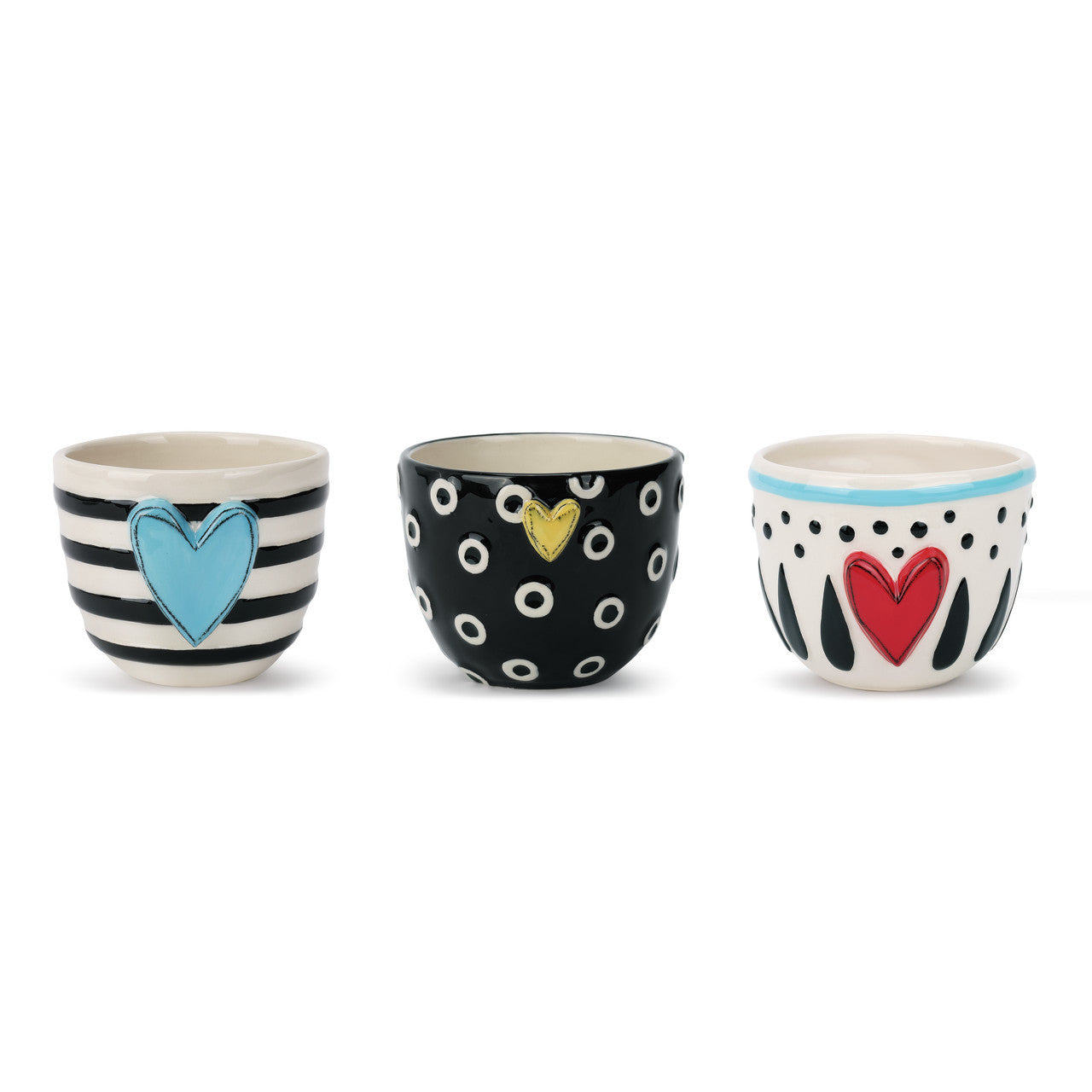 Heart Bowls with Stripes, Dots and Circles