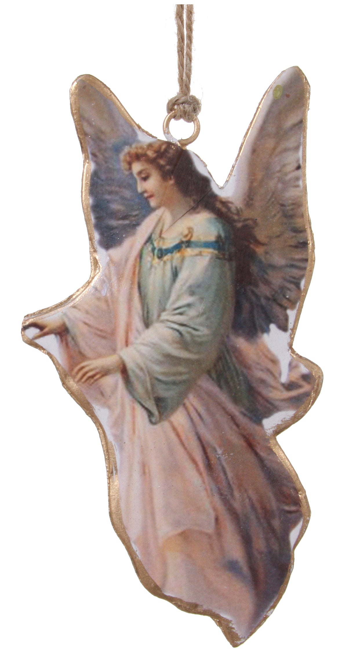 Heavenly Angel Ornament, Metal - Pastel Victorian Ornaments