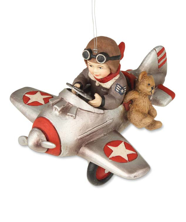 Henry Flies In - Boy in Airplane Ornament - Bethany Lowe