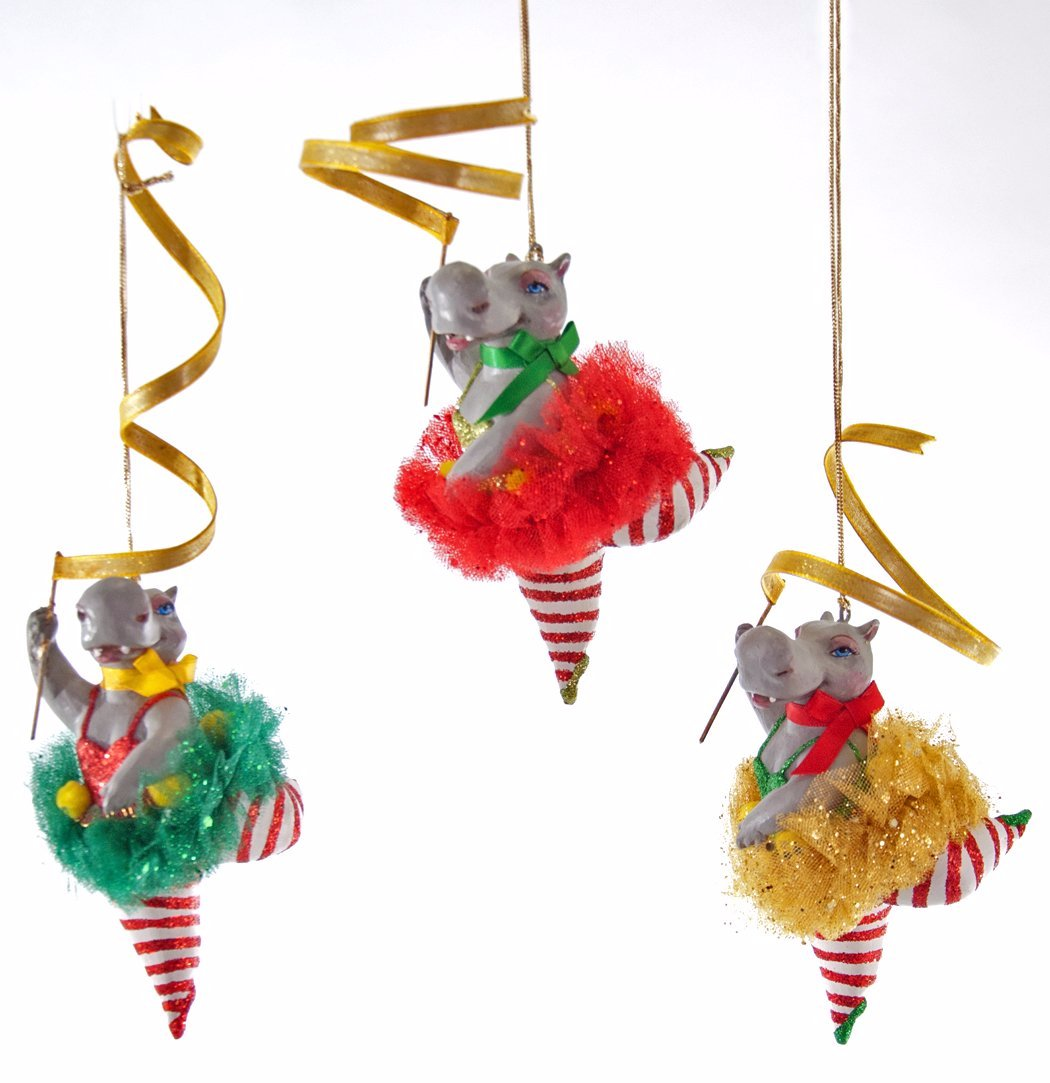 Hippo Ribbon Dance Ornaments by Katherine's Collection