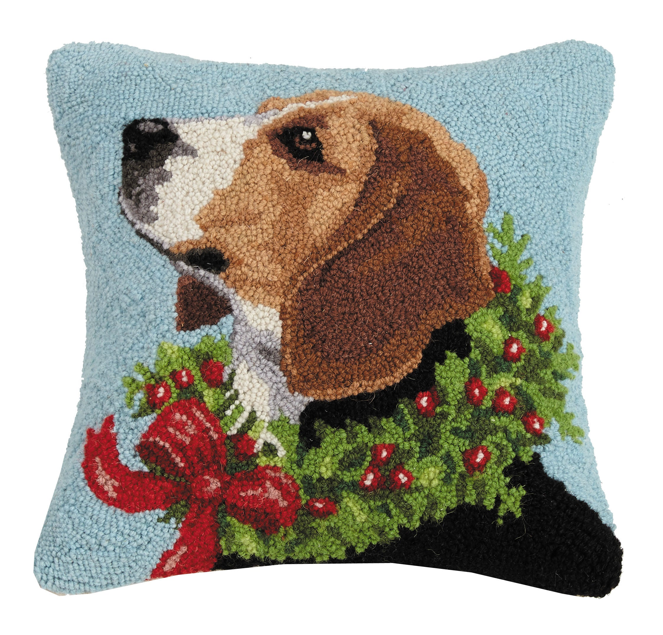 Holiday Beagle with Wreath Hooked Pillow
