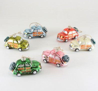 Retro Glass Holiday Car Ornaments