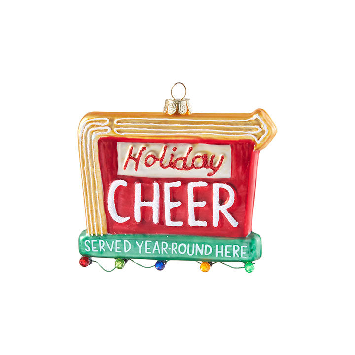 Retro Holiday Cheer Sign Ornament