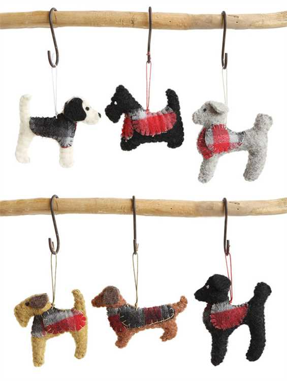 Dogs in Plaid Jackets - Wool Christmas Ornaments