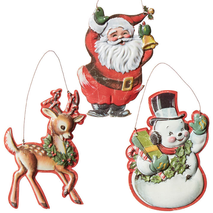 Retro Christmas Tin Ornaments, Santa, Reindeer, Snowman