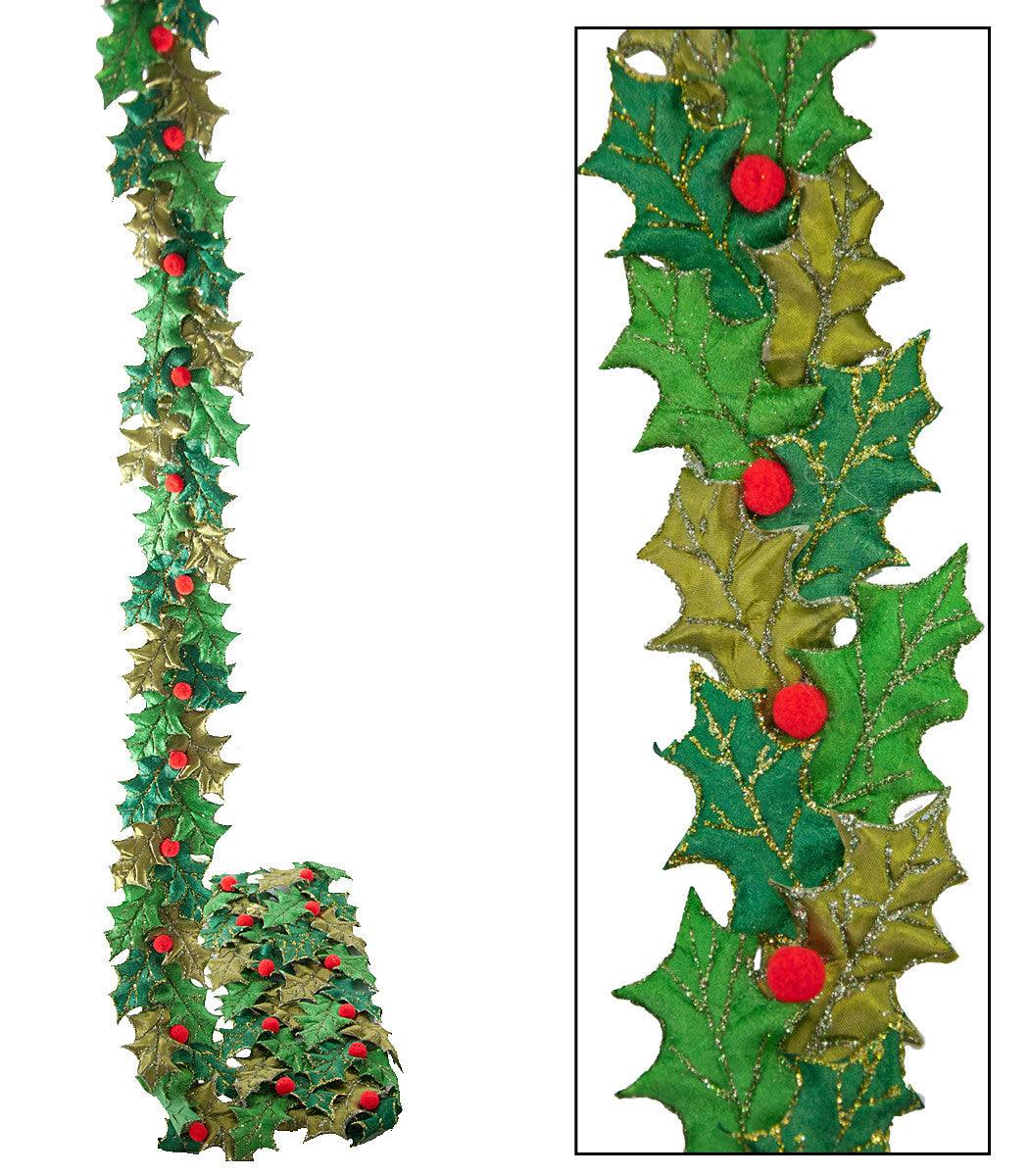 Holly Leaf Ribbon Garland - Large