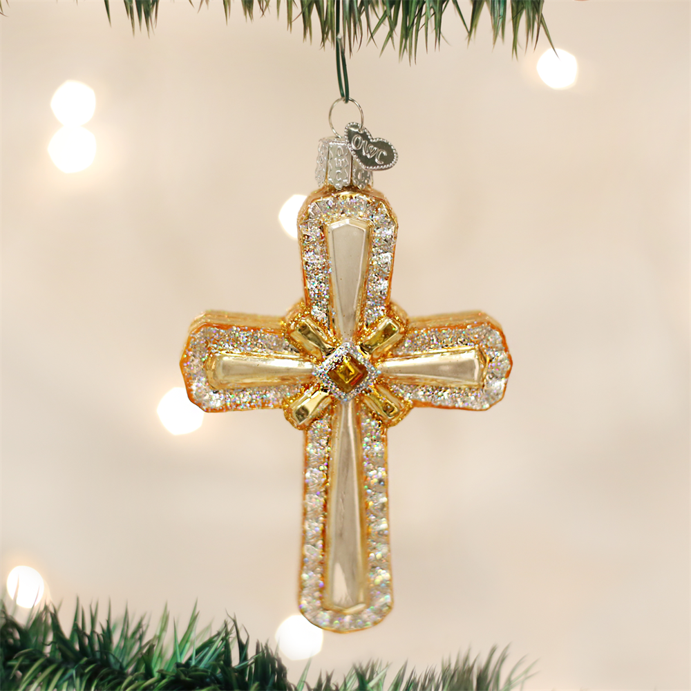 Holy Cross Christmas Ornament - Glass