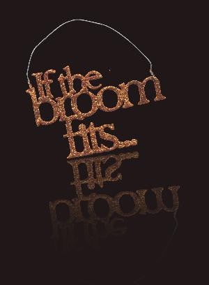If The Broom Fits Orange Glittered Ornament