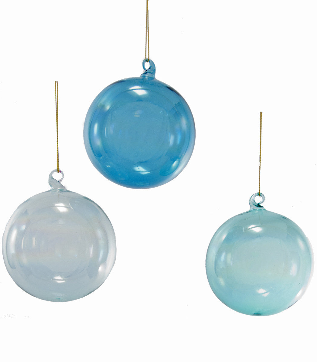 Irridescent Blue Glass Ball Ornaments