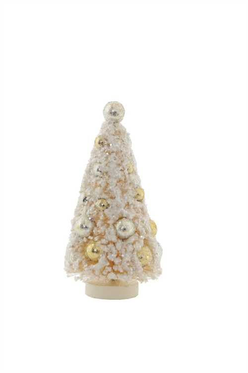 Flocked Ivory Mini Bottle Brush Trees