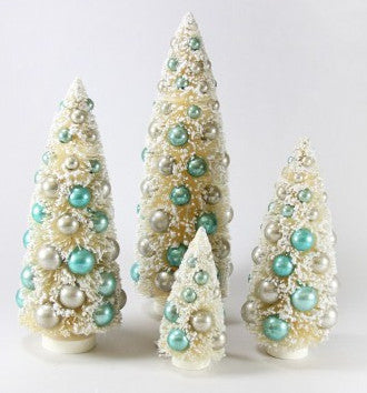 ivory ice blue bottle brush trees - Bottle Brush Christmas Tree
