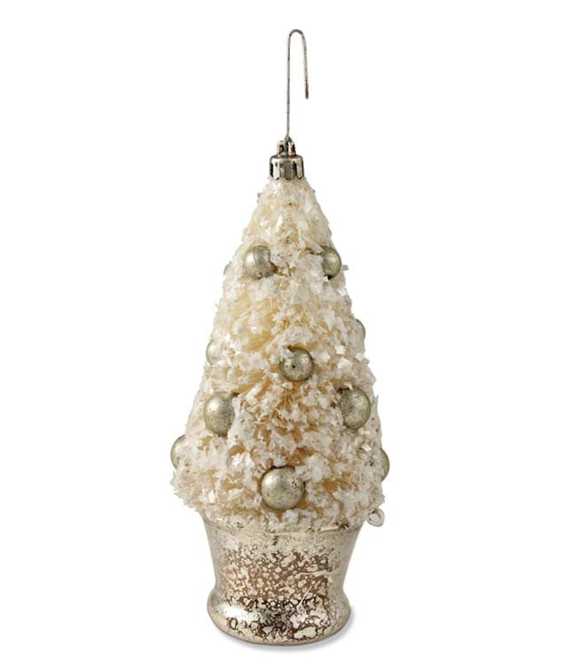 Ivory & Silver Bottle Brush Tree In Mercury Glass Urn Ornament