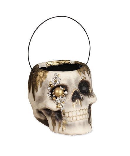 Jeweled Skull Paper Mache Bucket