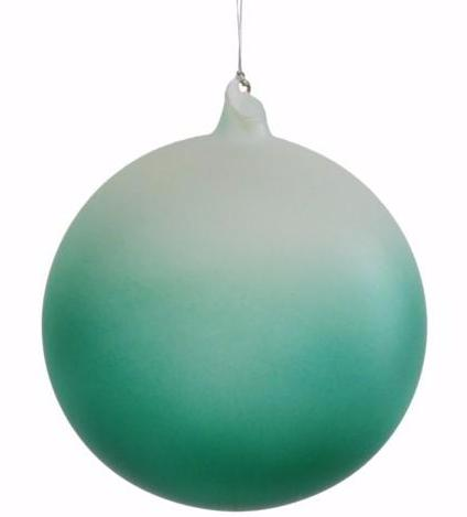 Jim Marvin Frosted Glass Teal Ball Ornaments