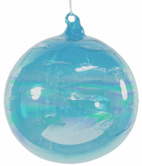 Jim Marvin Iridescent Teal Blue Art Glass Ball Ornaments