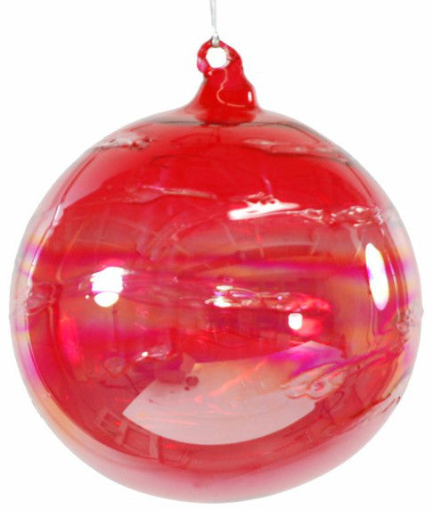 Jim Marvin Iridescent Candy Red Art Glass Ball Ornaments