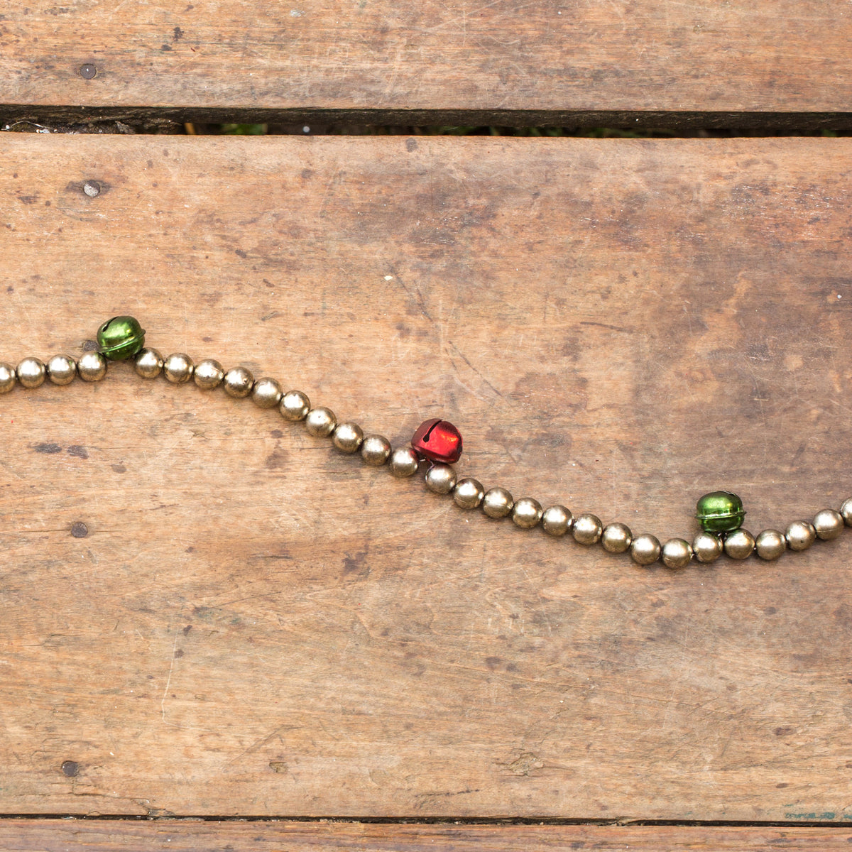 Jingle Bell Garland with Red and Green Jingle Bells and Silver Beads
