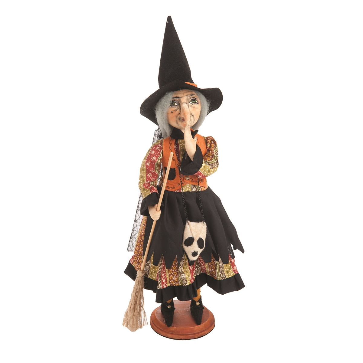 Joe Spencer Prunella Witch on Stand - Cloth Halloween Dolls