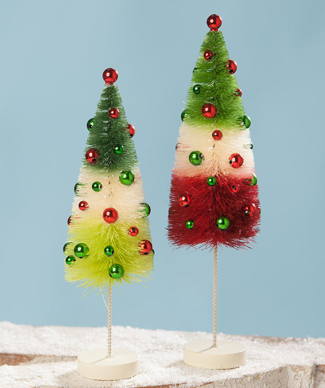Jolly Tricolored Bottle Brush Trees, Retro Christmas