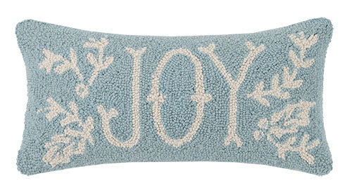 Joy Hooked Pillow Soft Blue