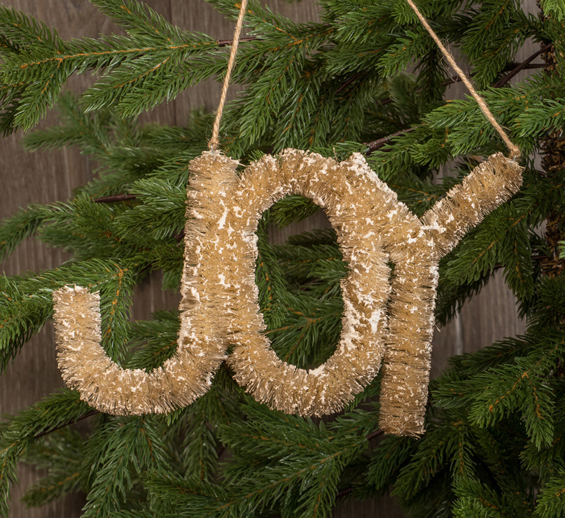 Joy Ornament / Sign Made from Natural Bottle Brush