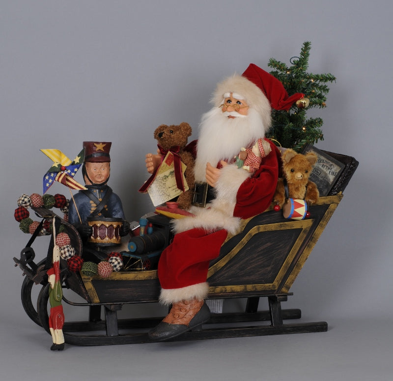 Karen Didion Vintage Santa Sleigh with Old Fashioned Toys