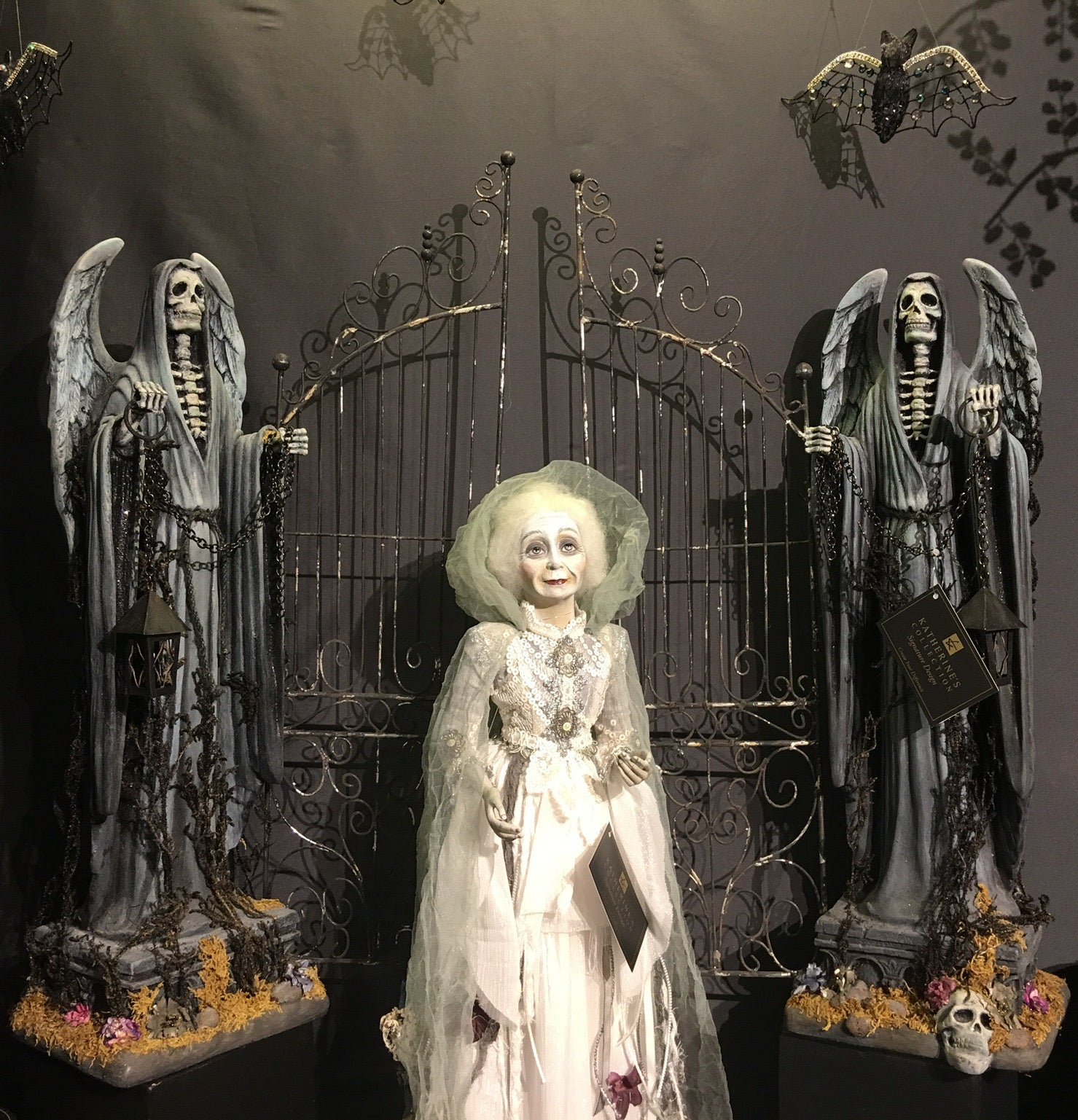 Katherine's Collection Cemetery Gate with Grim Reaper Statues