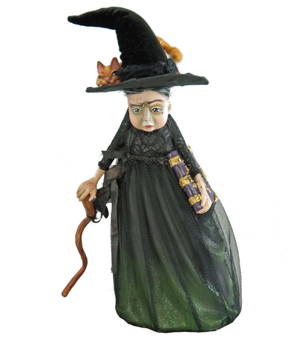 Witch with Orange Tabby Cat Figurine by Katherine's Collection