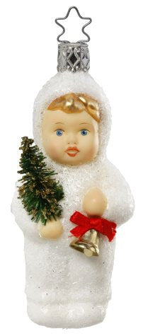 Kinder of Caroling Ornament - Snow Child with Bell & Tree