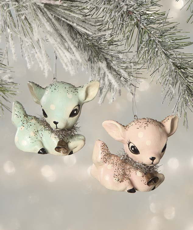 Retro Pink & Blue Reindeer Ornaments - Kitschy Christmas