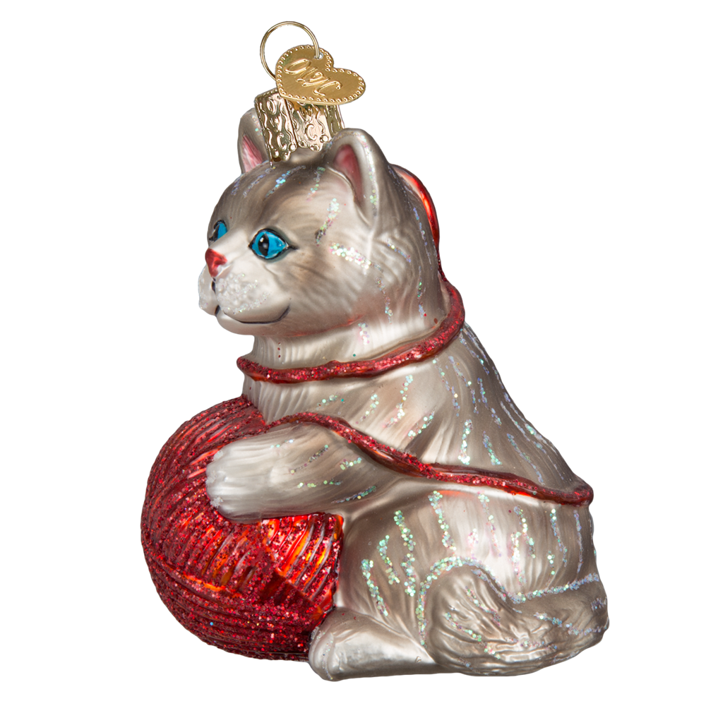 Glass Kitten Ornament with Ball of Yarn