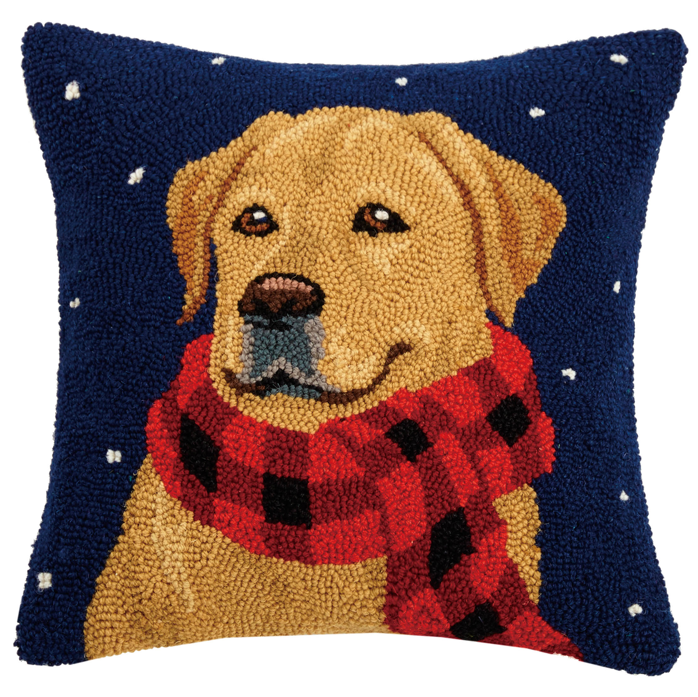 Lab in Scarf Hooked Pillow