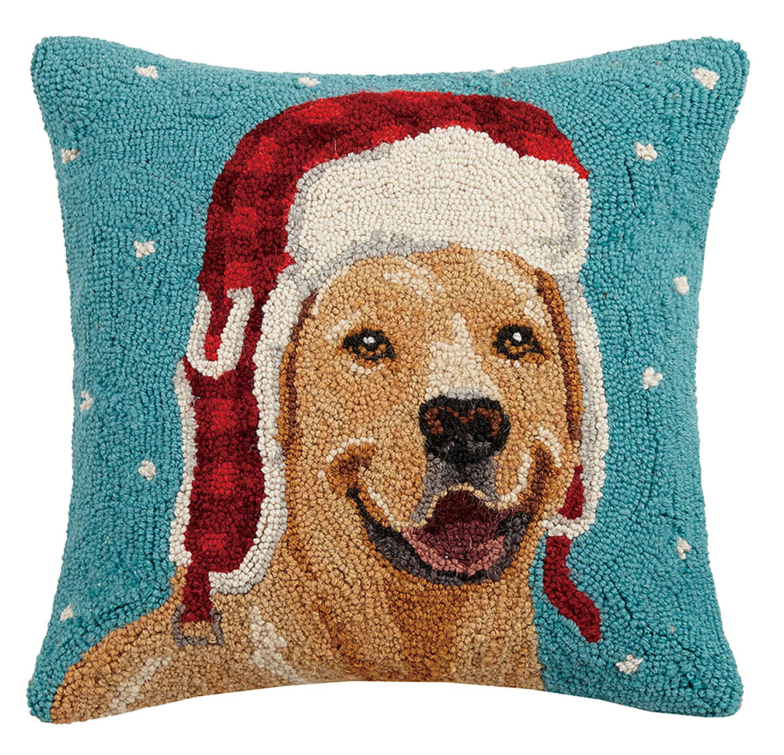 Lab in Trapper Hat Hooked Pillow