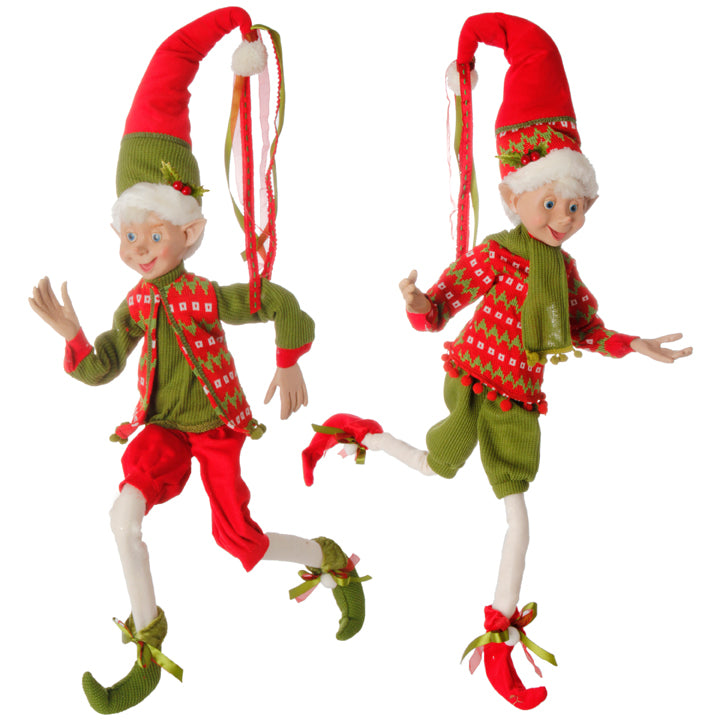 Skip & Jump Posable Elves Wearing Red and Green Clothes