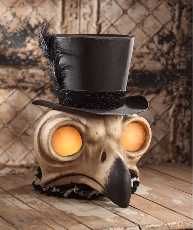 Bethany Lowe Skeleton Owl Container with Top Hat - Large
