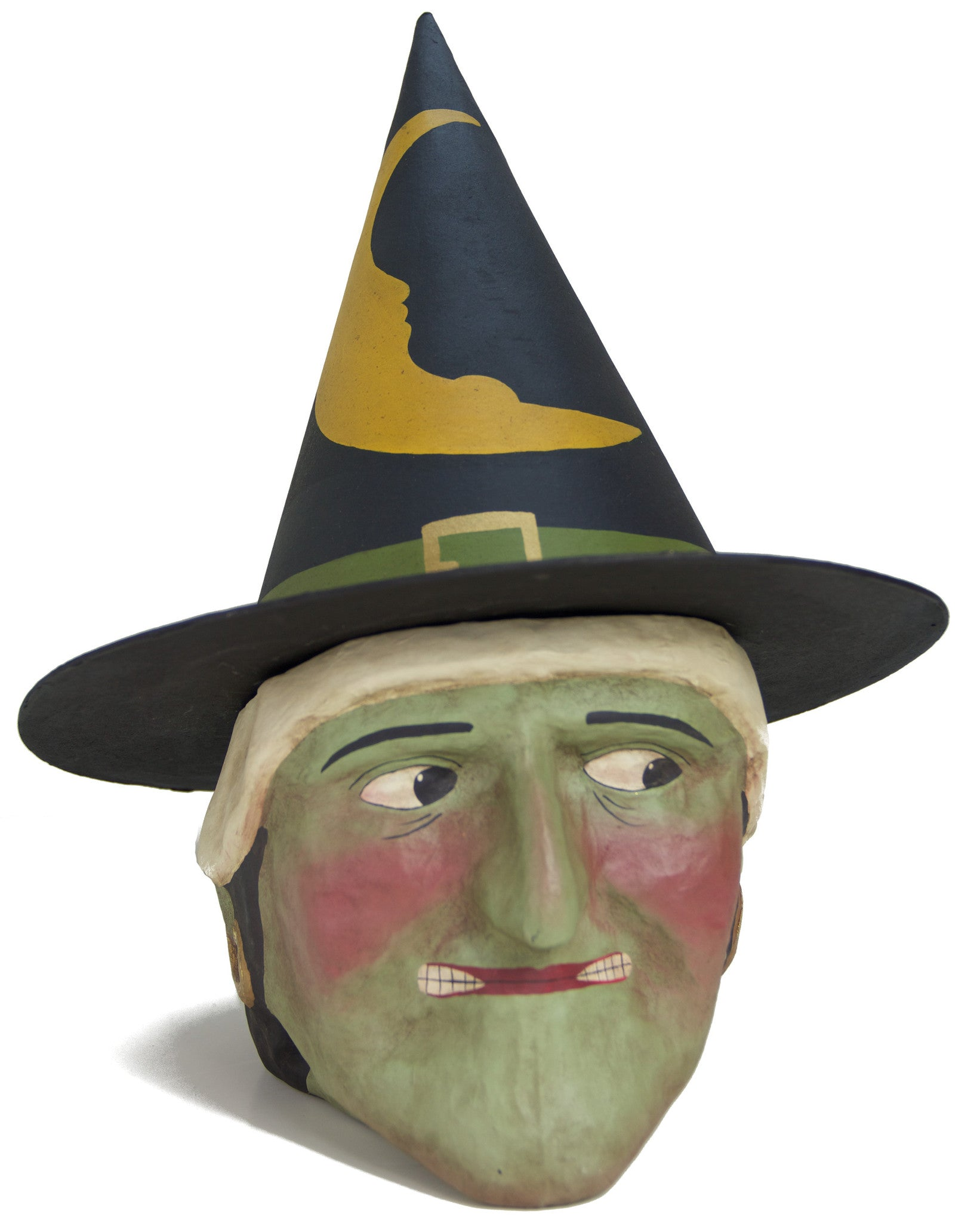 Green Witch Paper Mache Candy Bucket - Large