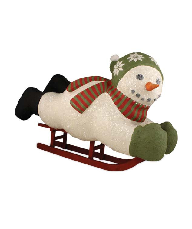Large Paper Mache Winter Frolic Snowman on Sled