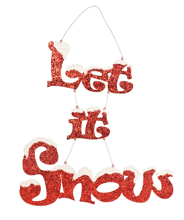 Let it Snow Glittered Tin Sign