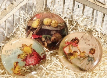 Easter Chick Glass Ornaments