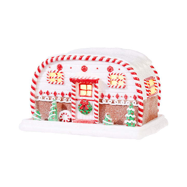Lighted Gingerbread Christmas Camper