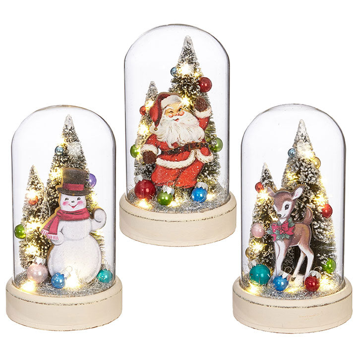 Retro Christmas Cloches, Lighted. Snowman, Santa, Reindeer.