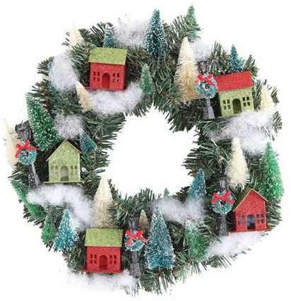 Christmas Glitter Village Wreath with Putz Houses, Trees and Lamp Posts