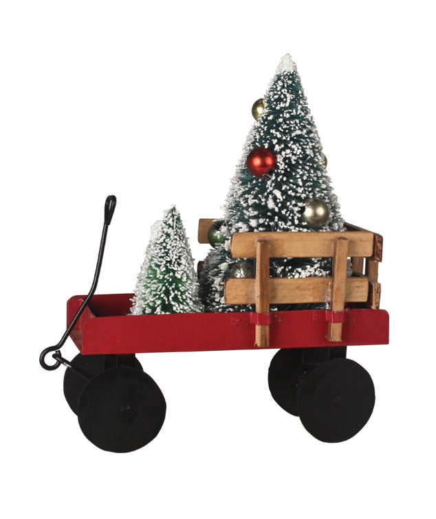 Little Red Wagon with Christmas Trees